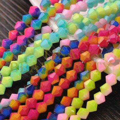 Hot 50pcs 6mm Bicone Faceted Glass Loose Spacer Colorful Beads Random Mixed