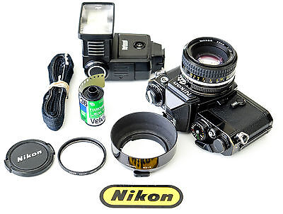 Nikon FE Vintage 35mm Film Camera Kit with Nikon 50mm lens + Accessories