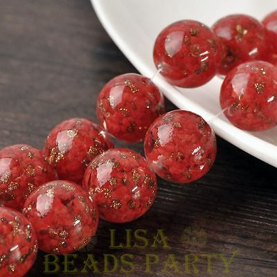 Hot 2pcs 20mm Lampwork Glass Dots Loose Spacer Round Beads Charms Red