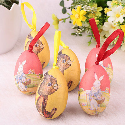 Colorful 4x6cm ABS Easter Egg Wreaths Crafts Kids Ornaments Decor Home