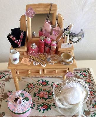 Dolls House Miniature 12Th Scale Ladies Dressing Table, Perfume, Hat, Hat Box