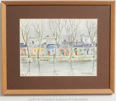 Phyllis IND, Cottages on GRAND CANAL DUBLIN Scene Watercolour Irish Art Painting