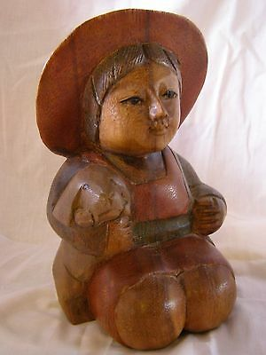 Fantastic Carved Wooden Child With Puppy Carved In Thailand     4916