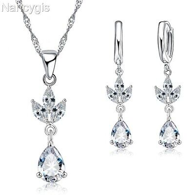 925 Silver Crystal Lotus Flower Necklace and Earrings Party Gift Jewellery Set