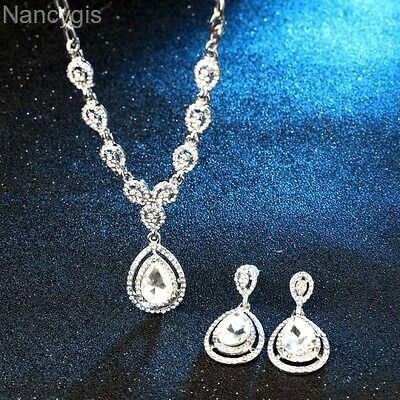 Silver Plated Crystal Drop Pendant Necklace and Earrings Wedding Jewellery Set