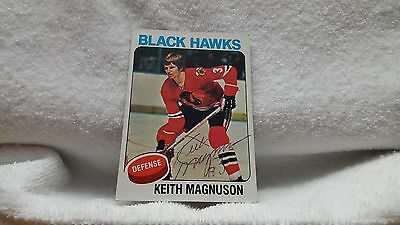 Keith Magnuson signed autograph Blackhawks 1975 Topps card #176