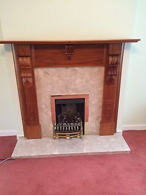 Wooden Fire Surround And Marble Effect Back Plate