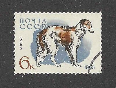 Dog Art Body Portrait Postage Stamp BORZOI RUSSIAN WOLFHOUND Russia 1965 CTO