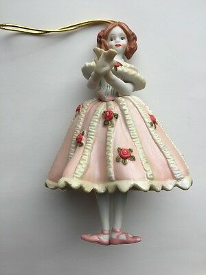 Vintage Jointed Ceramic Bisque Classical Ballerina Girl Christmas Ornament Roses