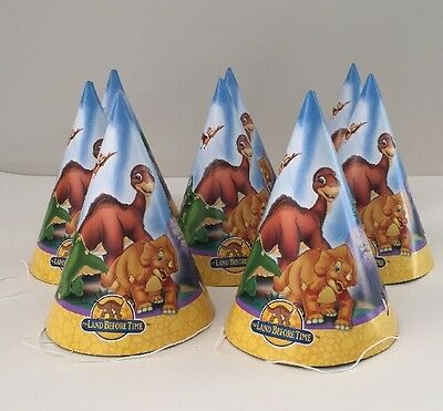 The Land Before Time Birthday Party Cone Hats Dinosaurs NEW 8 In Package