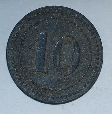 WWI German Prisoners Camp IX. A.K. Güstrow Notgeld Zinc 10 Pfennig 1916---m101