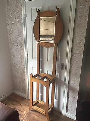 Solid Light Oak Vintage Hat And Coat Hall Stand With Mirror & Umbrella Stand