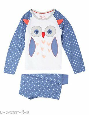 Girls Ex Famous Stores Stay Soft Owl Face Print Long Sleeve Pyjama Set