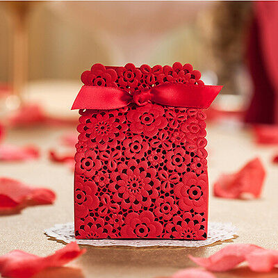 10X Red  Lace Wedding Favours Candy Sweets Boxes Bags Table Decorations & Ribbon