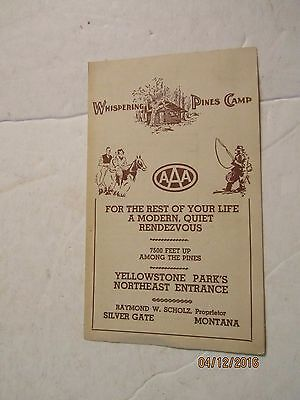 Vintage 1930's Whispering Pines Camp AAA in Montana Pamphlet