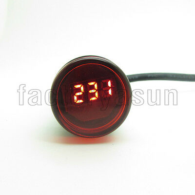 Mini Round 22mm Red 3 Digit LED Digital Voltage Meter Volts Panel AC70-500V