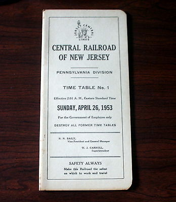 Central Railroad Of New Jersey Employee Time Table: 1, April 26, 1953