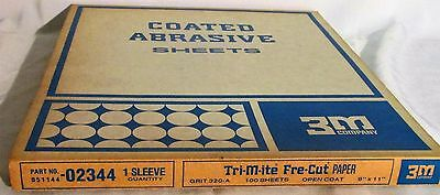 """3M 9"""" X 11"""" Coated Abrasive Sheets 100 Count 320-A Grit #02344 Tri-M-ite FRE-CUT"""
