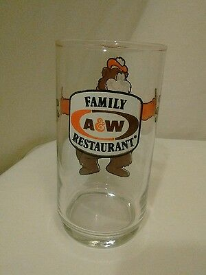 Vintage A&W FAMILY RESTAURANT Rooty Bear Promo Root Beer Drinking Glass