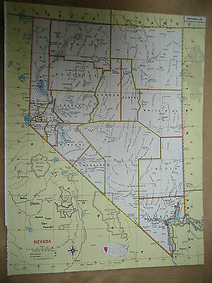 1981 Colorful Original Funk Map NEW HAMPSHIRE / NEVADA  31 years old