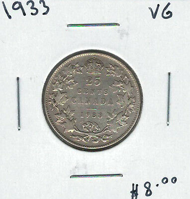 Canada 1933 Silver 25 Cents VG Lot#2