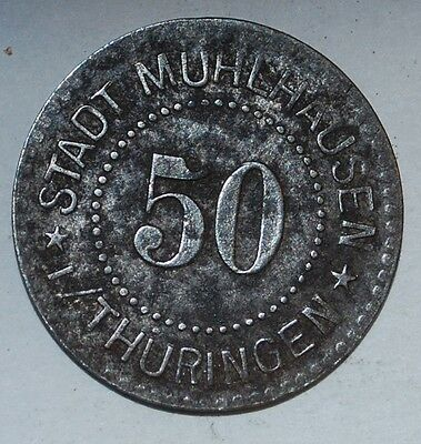 GERMANY NOTGELD 50 PFENNIG 1917 MUHLHAUSEN iron---105