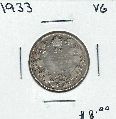 Canada 1933 Silver 25 Cents VG Lot#3