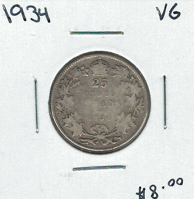 Canada 1934 Silver 25 Cents VG Lot#2
