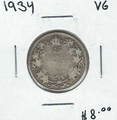 Canada 1934 Silver 25 Cents VG Lot#4