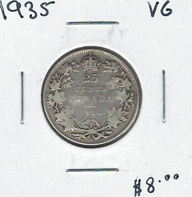 Canada 1935 Silver 25 Cents VG Lot#2