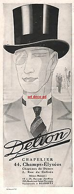 1929 - DELION Hat  Fashion men ad Vintage Advertising - 2j