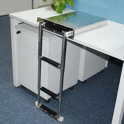 Stainless Steel 3-steps Concealed Box Telescopic Ladder For Boat Marine Great