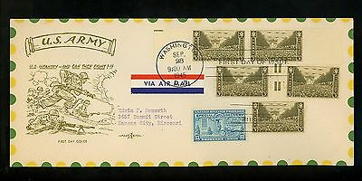 US FDC #934 M-63 Pent Arts 9/28/1945 Washington DC Army in WWII