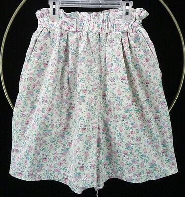 Vtg 80s Pastel Floral Print White High Waist RUFFLE Top Elastic Bubble Shorts M