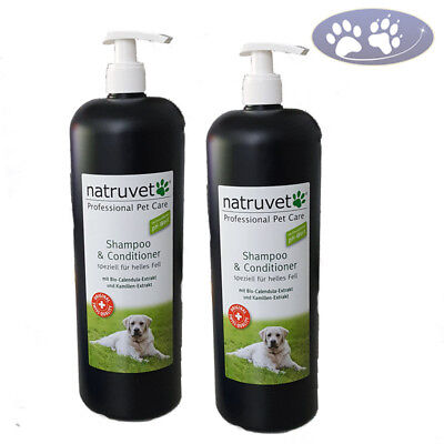 2 x 1000 ml Natruvet Hundeshampoo & Conditioner helles Fell Fellpflegespülung