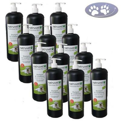 12 x 1000 ml Natruvet Hundeshampoo & Conditioner helles Fell Fellpflegespülung