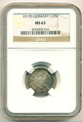 Germany Empire Silver 1917 D 1/2 Mark UNC MS63 NGC Color