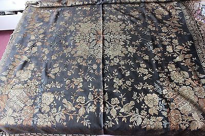 """Antique c1910 Chinoiserie & Bird Piano, Bed Or Sofa Cover~1yd12""""LX49""""W"""