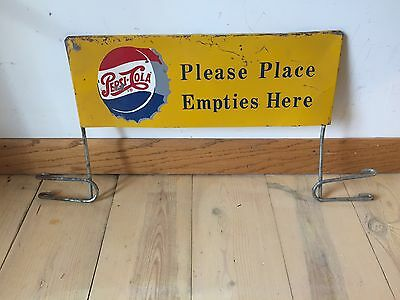 Vintage Advertising Sign Metal Pepsi Place Empties Here Sign