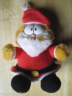 Vintage 1983 Plush Peluche Chat GARFIELD Santa Suit Père Noel Christmas 8 1/4 In