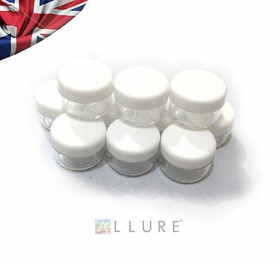 10 x 5G/5ML CLEAR EMPTY CONTAINER TUB JAR POT WHITE LID COSMETIC CREAM GLITTER