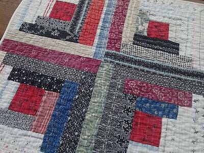 Primitive Antique Log Cabin Crib Table Quilt 26x16 Great to Decorate With!