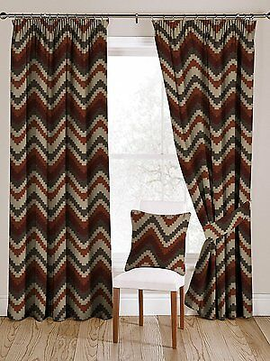 Red and Orange Navajo Curtains, Lining & Size Choices, Tailored Drapes