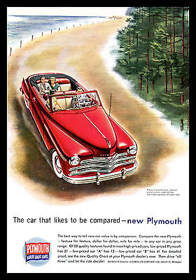 1949 Plymouth Print Ad Red Classic Car White Sidewall Tires Original