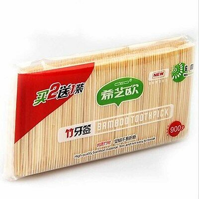 Double Bamboo Oral Care Toothpick Wooden 900PC Green Natural Pointed