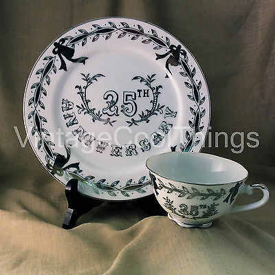 Lefton China Hand Painted 25th Anniversary White with Silver Plate & Cup Set
