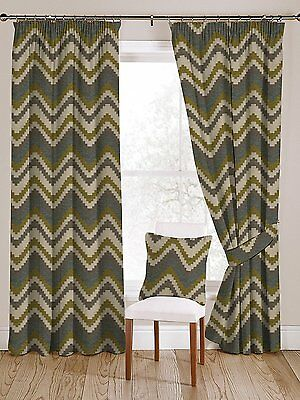 Blue and Green Navajo Curtains, Lining & Size Choices, Tailored Drapes