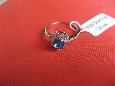 Woman's beautiful silver 925, ring with a  blue  stone  , Ukraine