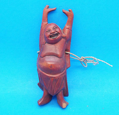"""Carved Wooden Statue of Happy Standing Buddha - 3 1/2"""" high"""