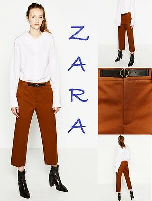 ZARA Front Buckle Trousers Mid-Rise New (TR$75) Crop Toffee Pants Size: S; M; L